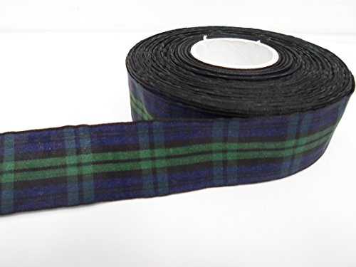 Beautiful Ribbon 2 mètres x 25mm Bleu Marine/Ruban de Tartan Vert Double Face Black Watch 25 mm