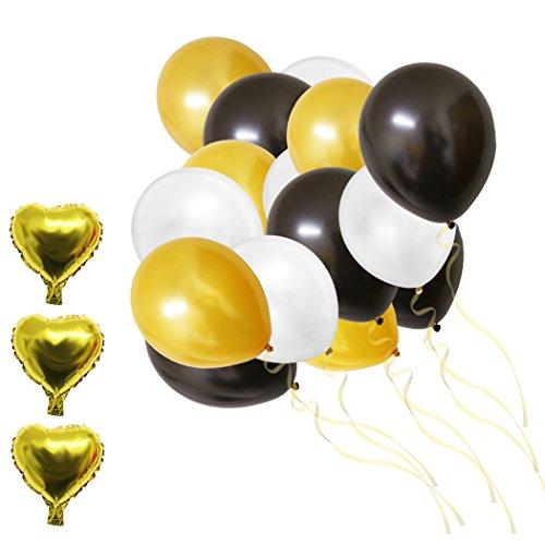 105-tlg. Dekorationen-Set 30,5cm Gold, Weiße u. Schwarze Party Folienballons u. Latexballons von Belle Vous - Für Geburtstag, Kinderpartys, Babypartys, Abschluss- u. Hochzeitsfeiern - Dekor Zubehör (Schwarz Weiß Party Dekoration)
