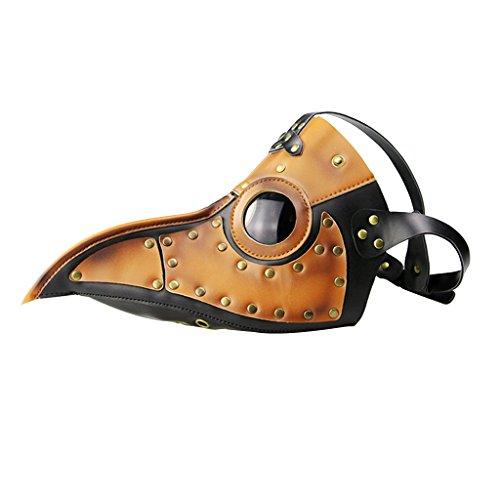 MagiDeal Steampunk Maske Lange Nase Kostümspiel Maske aus Leder für Erwachsene - Schwarz + (Doktor Pest Der Kostüm)