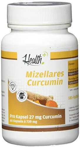 Health+ Mizellares Curcumin - 60 Kapseln, Wasser- Und Fettllösliche Kurkuma Kapseln, Hochwertige Curcuma-Extrakt Kapseln, Natürlicher Kurkumaextrakt Aus Der Curcuma-Pflanze, Made In Germany