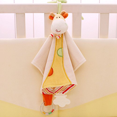 SHILOH Baby Towel Doll with Teether and Rattle 14.4inX14.4in Yellow Giraffe by Shiloh