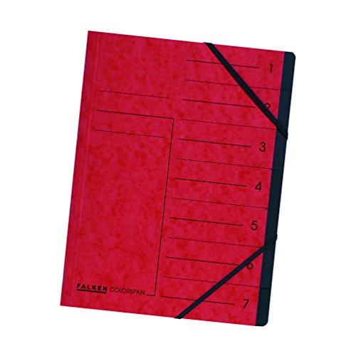 Falken Premium Ordnungsmappe aus extra starkem Colorspan-Karton DIN A4 7 Fächer und 2 Gummizüge mit Organisationsdruck rot Ringmappe Register-Mappe ideal fürs Büro und die mobile Organisation