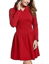 Mujer Vestidos De Fiesta Elegantes Cortos Vestido Otoño Invierno Manga Larga Sencillos Especial con Capucha Color