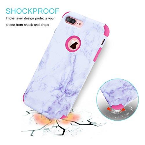 "WE LOVE CASE iPhone 7 Plus / iPhone 8 Plus Hülle Marmor 360-Grad All-inclusive Split Full Protection Anti-Drop iPhone 7 Plus / iPhone 8 Plus 5,5"" Hülle Rose Gold Schutzhülle Handyhülle Handytasche Han Pink"