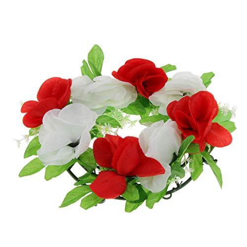 D DOLITY Kunstblumen Blumenkranz Rosengesteck Grabblumen als Grabschmuck Grabgesteck und Grabdekoration
