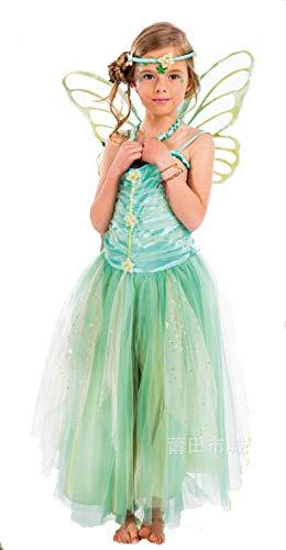 Kostüm Grüne Mädchen - LadyMYP Mädchen Karneval Kostüm Fasching Cosplay Prinzessinkleid Cosplay Kleid grüne Blume Fee grünes Elfkostüm (S)