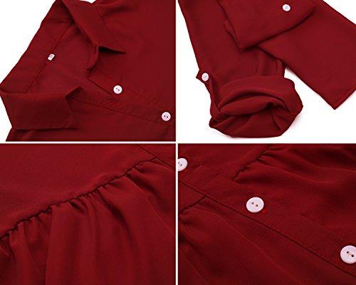 Yidarton Chemise Femme Chic Manches Longues Fluide Top Casual Classique Blouse Rouge