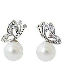 Ruvee Snow White Butterfly Zircon Alloy Stud Earring for Women