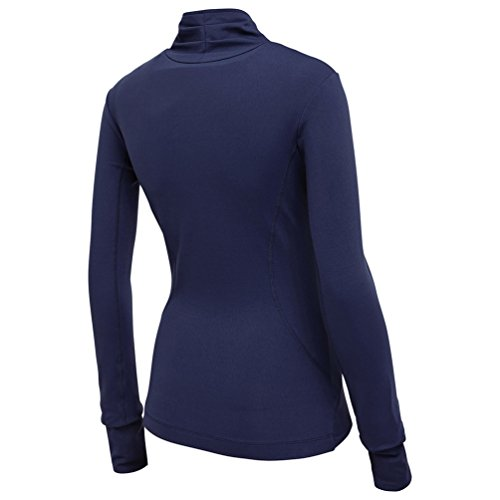 Dooxi Donna Casual Maniche Lunghe Jogging Fitness T-shirt Tops Fast Dry Traspirante Palestra Yoga Sport Cerniera Giacche Blu navy