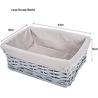 Grey Painted Three Sizes Available Wicker Storage Basket Shelf Organization Gift Hamper