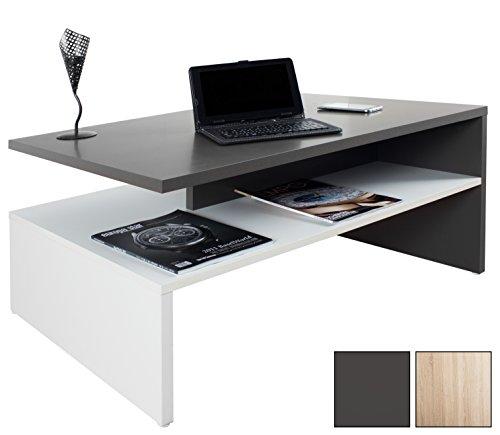 RICOO Mesa de Centro Estancia Design WM080-W-A la Mesa de salón Auxiliar día móvil de Trabajo Moderno con Dos Planes/Cuadrado Rectangular de Madera Color Gris Antracita y Blanco