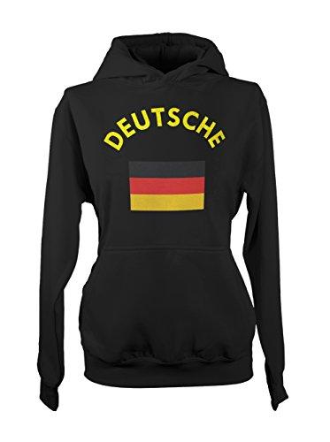 Deutsche Deutschland Germany German Flag Femme Capuche Sweatshirt Noir