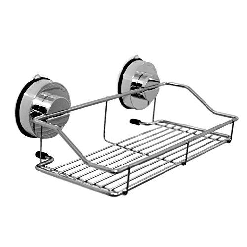 SZTARA Stainless Steel Bathroom Shelf Shower Caddy Rack Storage Basket with Strong Lock Suction Cup