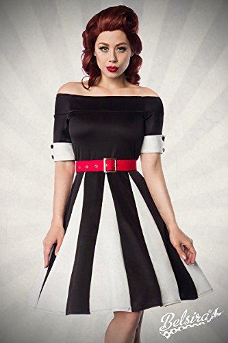 Belsira - Robe - Femme Noir - schwarz/weiß/rot
