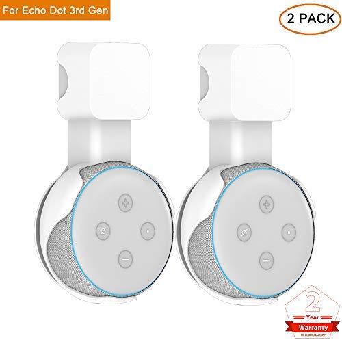 PHOCOENA Wandhalterung, Halterung für Echo Dot 3. Generation mit Kabelmanagement für Ihren Smart Home Lautsprecher, ohne Kabelsalat oder Schrauben 2 Pack weiß (Weiß 2 Schrauben)