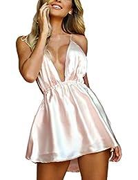 Ningsun Estive Moda da Donna Sexy Senza Maniche Scollo a V Profondo Senza  Schienale Bendare Camis Mini Vestito… 3df1fe076b7