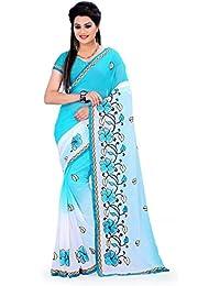 Aruna Sarees Chiffon Saree (Gpp-2_Blue-White)