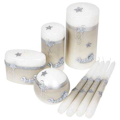 8piezas gris Navidad velas velas Ángel Diseño Adviento Formas Diferentes Tamaños