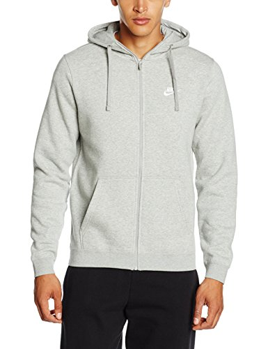 Nike Herren Unterjacke Kapuzenpullover Sweat Hoodie, Dark Grey Heather/Dark Grey Heather/White, L (Hoodie Full Zip Jacke)