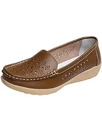 Zapatos de Loafer Plataforma de Cuero para Mujer Otoño Verano 2018 Moda  PAOLIAN Zapatillas Mini Tacón af41622bfe76