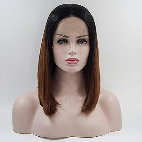 OOARGE PerüCke Frau Kurze Bob Steigung Farbe Straight Hair Vordere Spitze HochtemperaturperüCke Rose Net Head Sets , photo , 16in
