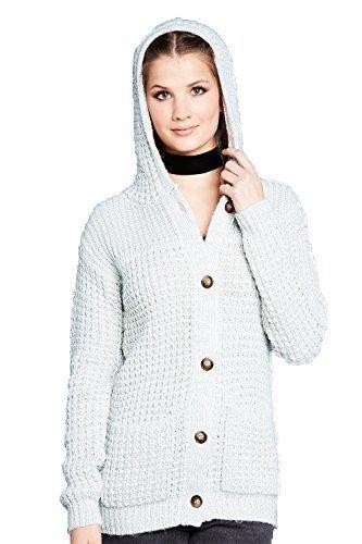 Preisvergleich Produktbild Damen Brave Soul Trockner Strickjacke Mit Kapuze Neu Designer Geknöpft Pulli - Crystal Grau /weiß Twist, 44