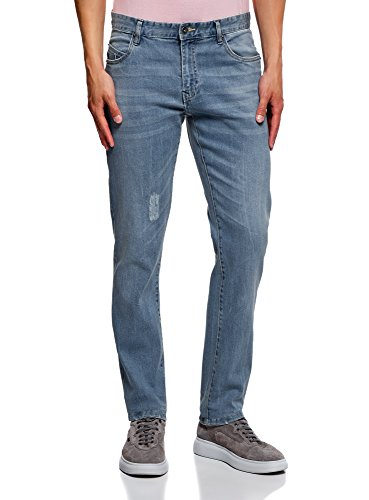 Oodji ultra uomo jeans slim fit a vita media, blu, 33w / 34l (it48 = eu33 = l)