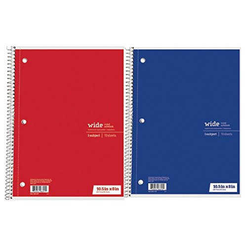 Office Depot breit liniert Spirale Notebook 1Thema 70Blatt 2er Set rot und blau -
