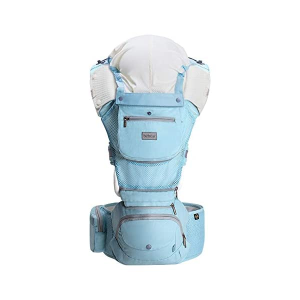 """FIFY baby carriers Waist stool baby sling multi-function four seasons universal seat baby slings front hugs hold baby artifact axt03 lake blue (cool breathable models), C FIFY Offer three carrier method: outward-facing, inward-facing and back carrying; product care: machine wash, warm (40 degrees). wash separately with a gentle, bleach-free detergent Age: from 3 months-14 months (at least 3.6 kg -9.1 kg) COMFORTABLE & ERGONOMIC AS BABY GROWS: Easy to adjust bucket seat supports your baby in an ergonomic natural """"M"""" position in all carry positions from baby to toddler. 1"""