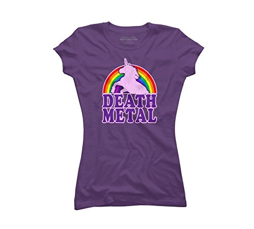 Sixtion Funny! Death Metal Unicorn (vintage distressed) Women's Graphic T Shirt Medium