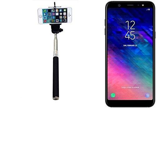 K-S-Trade® per Samsung Galaxy A6+ (2018) Bastone Selfie Selfiestick Asta Autoritratto telescopica Fotografico Monopiede Selfie Stick per Samsung Galaxy A6+ (2018) nero