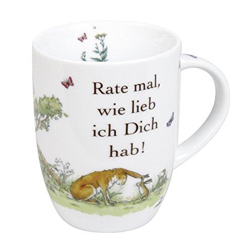 "Könitz K1111030781 Kaffeebecher ""Rate mal, wie lieb ich Dich hab!""Becher Porzellan 12 x 8 x 10.3 cm, Mehrfarbig"