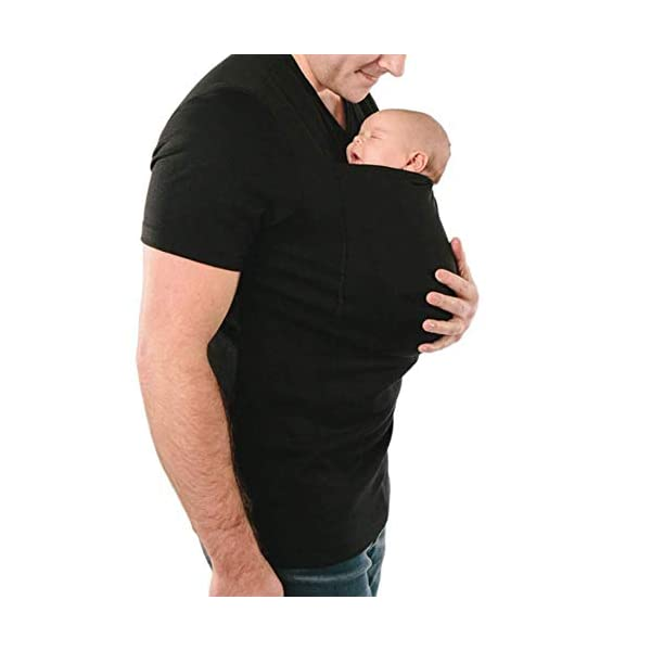 G&F Kangaroo Dad Soothe Shirt Big Pocket Skin To Skin Baby Carrier Wrap For Newborn (Size : Large) G&F ✔ Baby Hoodies Carriers Material:66% polyester / 32% rayon / 2% spandex.Really soft and comfortable material ✔ Mom and Dad can easily comfort her newborn thanks to the secure yet expandable pouch creating an intimate swaddle right against mom ✔ The head support the baby's head while they sleep and easily tucks back into the pouch when not in use 2
