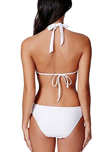 Y&L Womens Bikini-Riemchen One Piece Bademode Rückenfrei Neckholder Monokini Bademode Weiß