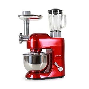 Klarstein Lucia Rossa • robot da cucina • mixer • impastatrice • 1200 W • 5 L • sistema planetario • tritacarne • ganci per pasta • shaker da 1,5 L • velocità regolabile su 6 livelli • interruttore di sicurezza • terrina in acciaio inox • rosso