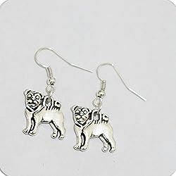 Pug–Pendientes–Pendientes de perro carlino Jewelry–Perro–Animal Jewelry–Pug–Pendientes Pendientes largos, Pet Pendientes