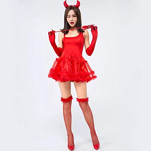 FHSIANN Damen Sexy Flame Red Demon Kostüm
