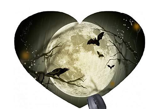Vollmond und Halloween-Crow Crys Silhouette-Muster gedruckt herzförmige Mauspad