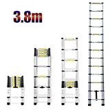 3.8M 12.5Ft escalera telescópica aluminio recto portátil extensión 13Climb pasos Heavy Duty ligero para el hogar Loft