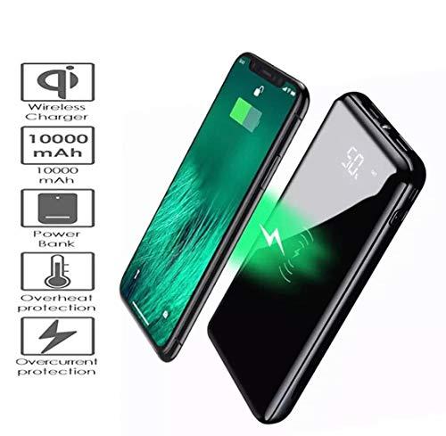 Bettershop[qi-certified] powerbank power bank ultra slim fast charge caricabatterie portatile wireless da 10000mah, carica 3 telefoni contemporaneamente, 2 porte usb, compatibile qi