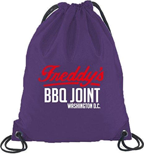 Shirtstreet24, HOC - Freddys BBQ Joint, Turnbeutel Rucksack Sport Beutel Lila