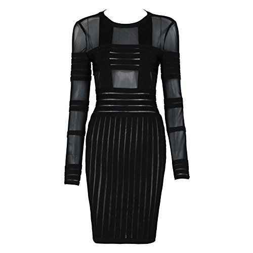 HLBandage Mesh Striped Long Sleeve Rayon Bandage Dress Noir