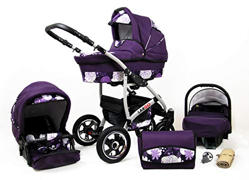 Kinderwagen Largo,3 in 1 -Set Wanne Buggy Babyschale Autositz mit Zubehör Violet