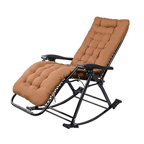 Fauteuil Relax,Chaise Rocking Chair, Shake The Sense Of Nature réglable 90-155 ° Pli arrière Lounge Chair Adult Easy Chair Jardin extérieur: Capacité de transport 330lbs (couleur: BROWN) -Brown