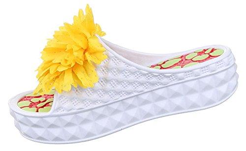 Damen Sandalen Schuhe Pantoletten Mules Offen Sommerschuhe Weiß 37 PlFgDCs