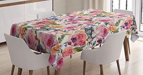 ABAKUHAUS Blumen Tischdecke, Shabby Chic Rose Floral, Für den Inn und Outdoor Bereich geeignet Waschbar Druck Klar Kein Verblassen, 140 x 200 cm, Mehrfarbig