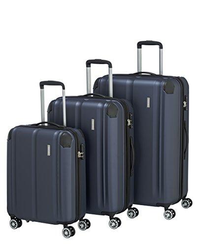 """Travelite Leicht, flexibel, sicher: \""""City\""""-Hartschalenkoffer für Urlaub und Business (auch mit Vortasche) Koffer-Set, 77 cm, 231 Liter, Marine"""