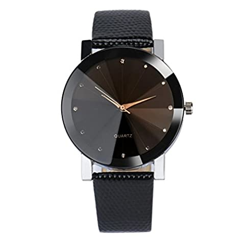 LHWY Luxury Quartz Sport Military Stainless Steel Dial Leather Band Wrist Watch (D, S)