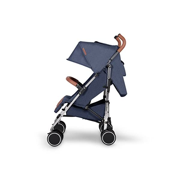 Ickle Bubba Baby Strollers   Lightweight Stroller Pushchair   Compact Fold Technology for Easy Transport and Storage   UPF 50+ Extendable Hood and Rain Cover   Discovery, Denim Blue/Silver Ickle Bubba ONE-HANDED 3 POSITION SEAT RECLINE: Baby stroller suitable from birth to 20kg-approx. 4 years old; features rain cover UPF 50+ RATED ADJUSTABLE HOOD: Includes a peekaboo window to keep an eye on the little one; extendable hood-UPF rated-to protect against the sun's harmful rays and inclement weather LIGHTWEIGHT DESIGN WITH COMPACT FOLD TECHNOLOGY: Easy to transport, aluminum frame is lightweight and portable-weighs only 7kg; folds compact for storage in small places; carry strap and leather shoulder pad included 4