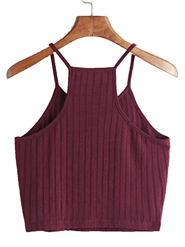 THE BLAZZE Women's Sleeveless Crop Tops Sexy Strappy Tees (S, Maroon)